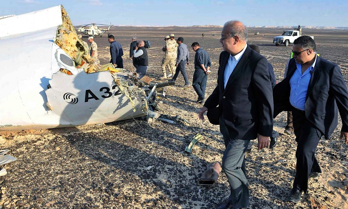 Russian aviation official says after inspecting wreckage in Egypt that plane broke apart, but this does not necessarily indicate bomb
