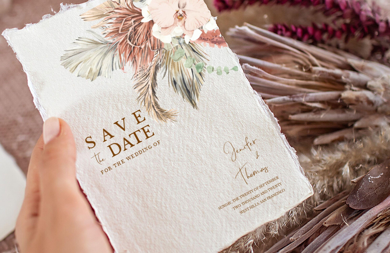 Boho Wedding Pampas Grass Pampas Wedding Boho Theme Wedding Save The Date Magnets Calligraphy Calendar Design Boho Theme