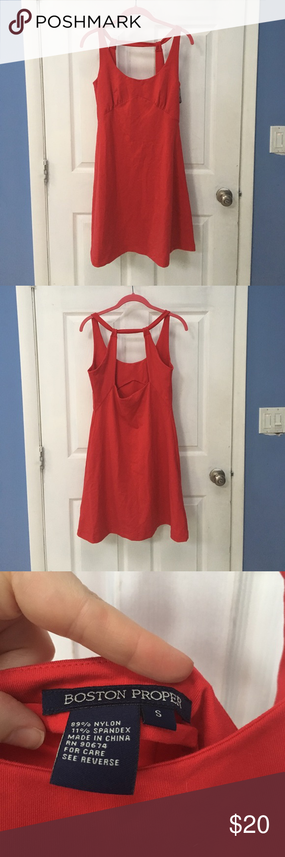 Boston proper red sundress Nice n thick material fit and flare. Lipstick red Boston Proper Dresses