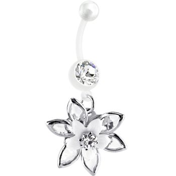 Bioplast White Blooming Lily Belly Ring Everything I Want This
