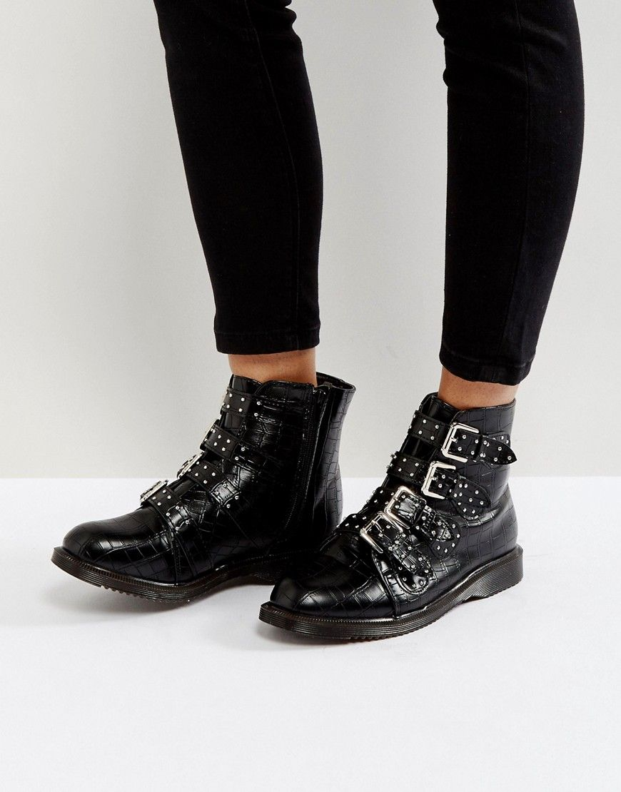 ec4d025c211 Truffle Collection Croc Buckle Ankle Boots with Studs - Black ...