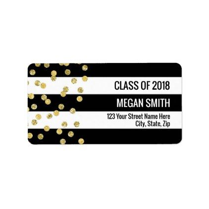 class of 2018 graduation gold black address labels