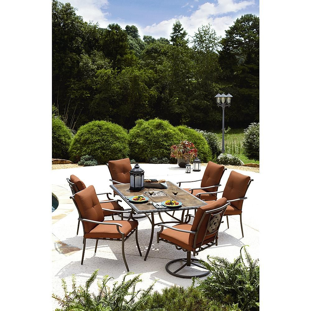 Garden Oasis Emery 7 Piece Cushion Dining Set Red Outdoor
