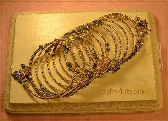 Silver, Gold, Flower and Butterfly Memory Wire Wrap Bracelet by crafts4thecure