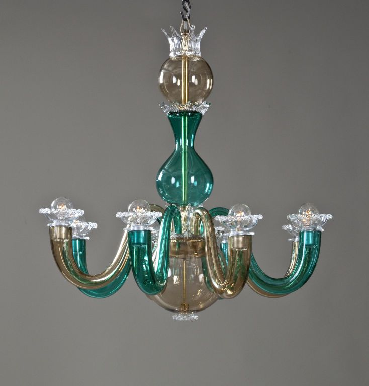 Lampadario Gio Ponti Venini.A Colored Glass 8 Arm Chandelier By Gio Ponti For Venini Nel