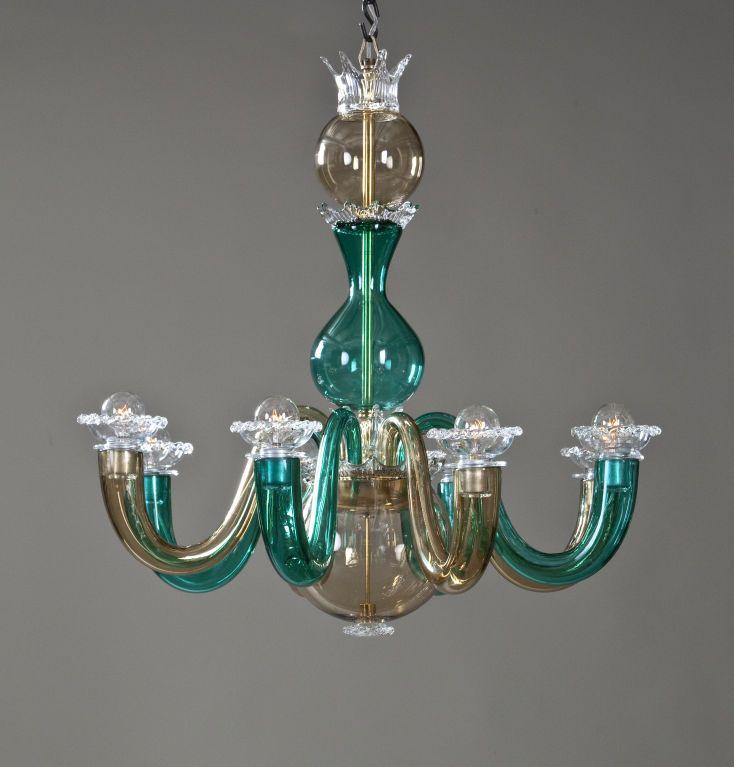 Toni zuccheri, venini edition, 1966 cm 41w x 29 x 44h. A Colored Glass 8 Arm Chandelier By Gio Ponti For Venini Arm Chandelier Chandelier Colored Glass