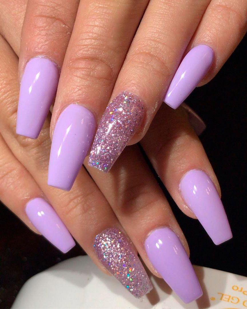 Cute Light Purple Coffin Nails With Glitter Accent Nail Design Coffinnails In 2020 Purple Acrylic Nails Accent Nail Designs Pink Acrylic Nails