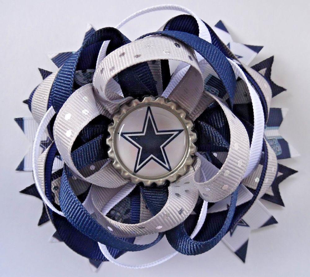 DALLAS COWBOYS FOOTBALL TEXAS STAR BOUTIQUE HAIR BOW BARRETTE RIBBON HANDMADE #Handmade