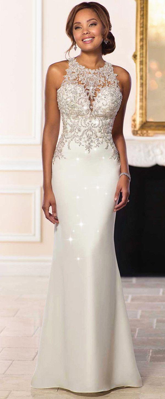 Attractive Tulle Satin Jewel Neckline Natural Waistline Mermaid Wedding Dress With Beaded Lace Appliques Classy Wedding Dress Wedding Dresses Bridal Dresses [ 1450 x 600 Pixel ]