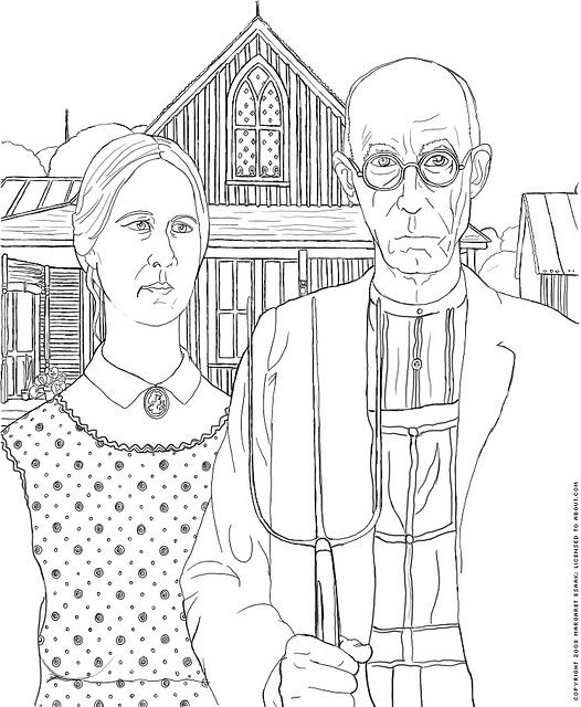 American Gothic Coloring Page   Grant Wood (wouldnu0027t A Whole Coloring Book  Of Fine Art Be Awesome?!)