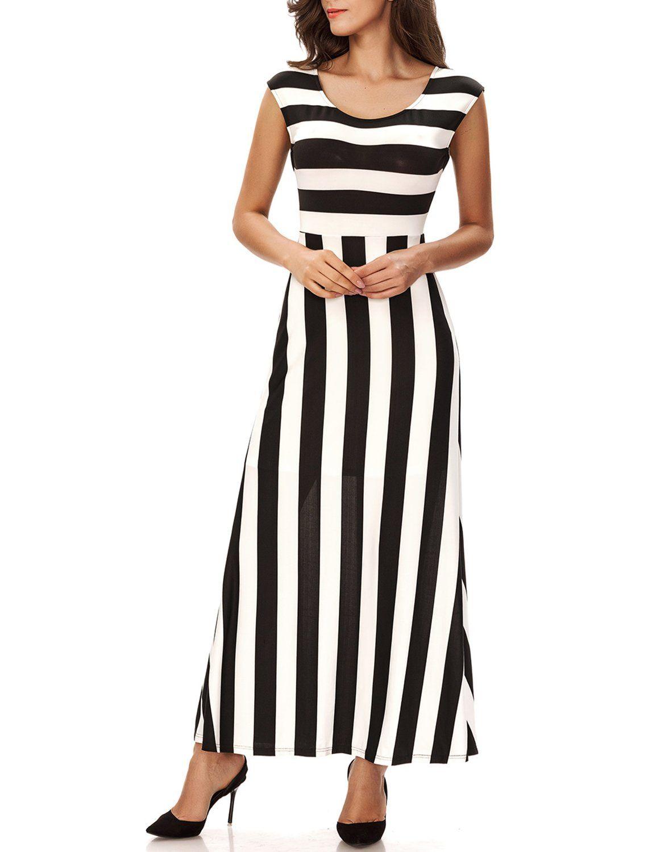 Noctflos Womens Black White Vertical Striped Casual Elegant Long Evening Dress Check Out This Great Prod Nice Long Dresses Long Dress Casual Maxi Tank Dress [ 1500 x 1140 Pixel ]