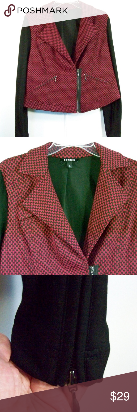 d62a2dcc594ad TORRID Sz 0 Sz L Burgundy Black Knit Moto Jacket TORRID Sz 0 Sz L Burgundy