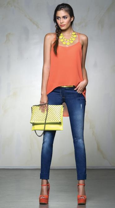 Combinar una blusa naranja Zapatos Naranjas baf920cb0ea5