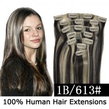 """15"""" 7pcs set Clip-in hair remy Human Hair Extensions #1B/613,shop at www.costwe.com"""