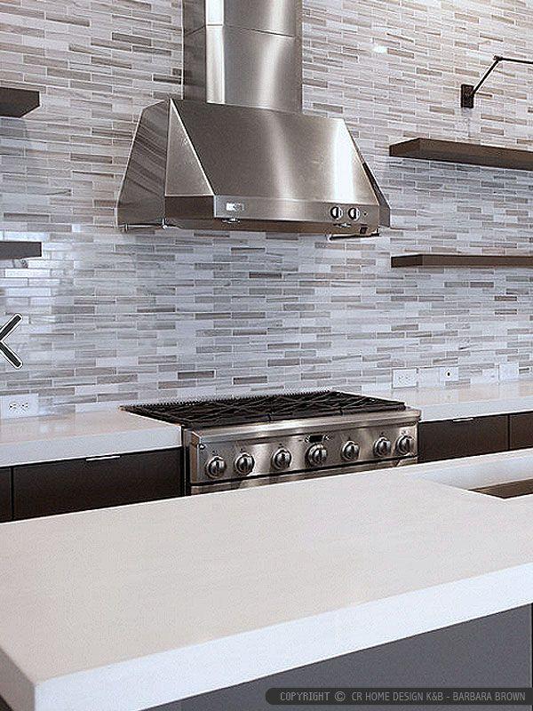 Modern White Gray Subway Marble Backsplash Tile Modern Kitchen
