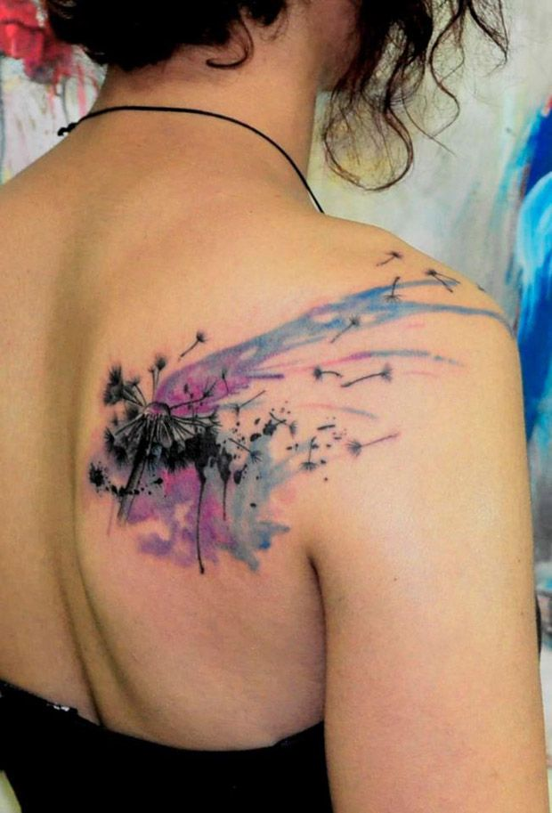 Watercolor And Nature Painting Tattoo Dandelion Tattoo Design