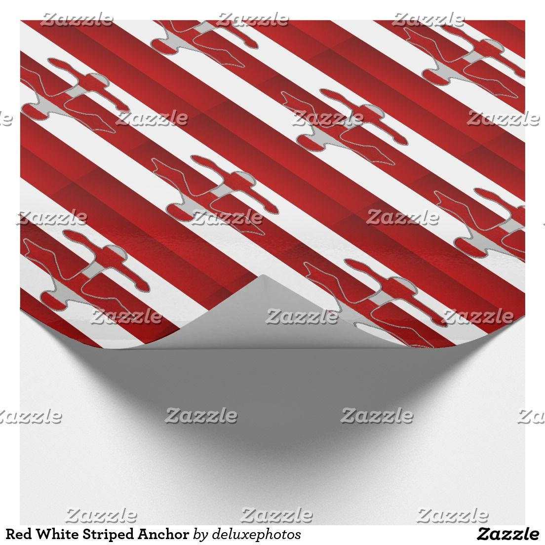 Red White Striped Anchor Wrapping Paper