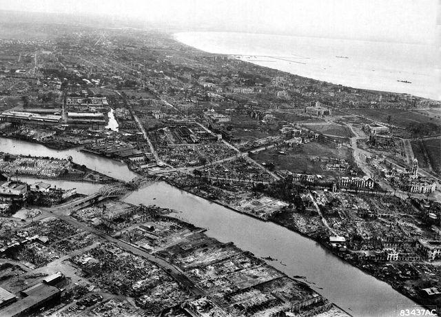 Manila War Damage March 1945 Pasig River Looking South Manila