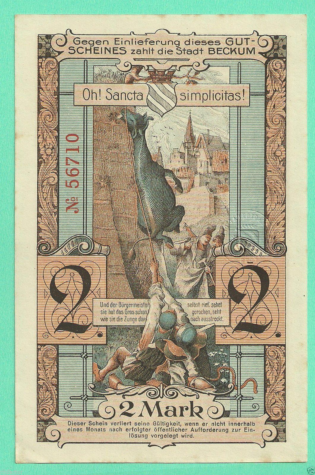 GERMANY Beckum 1918, 2 Mark, LARGE NOTGELD Vintage world