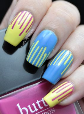 omd challenge  day 11 stripes  nails french acrylic