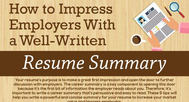 Infographic How to Impress Employers with a Well-Written Resume - resume summary
