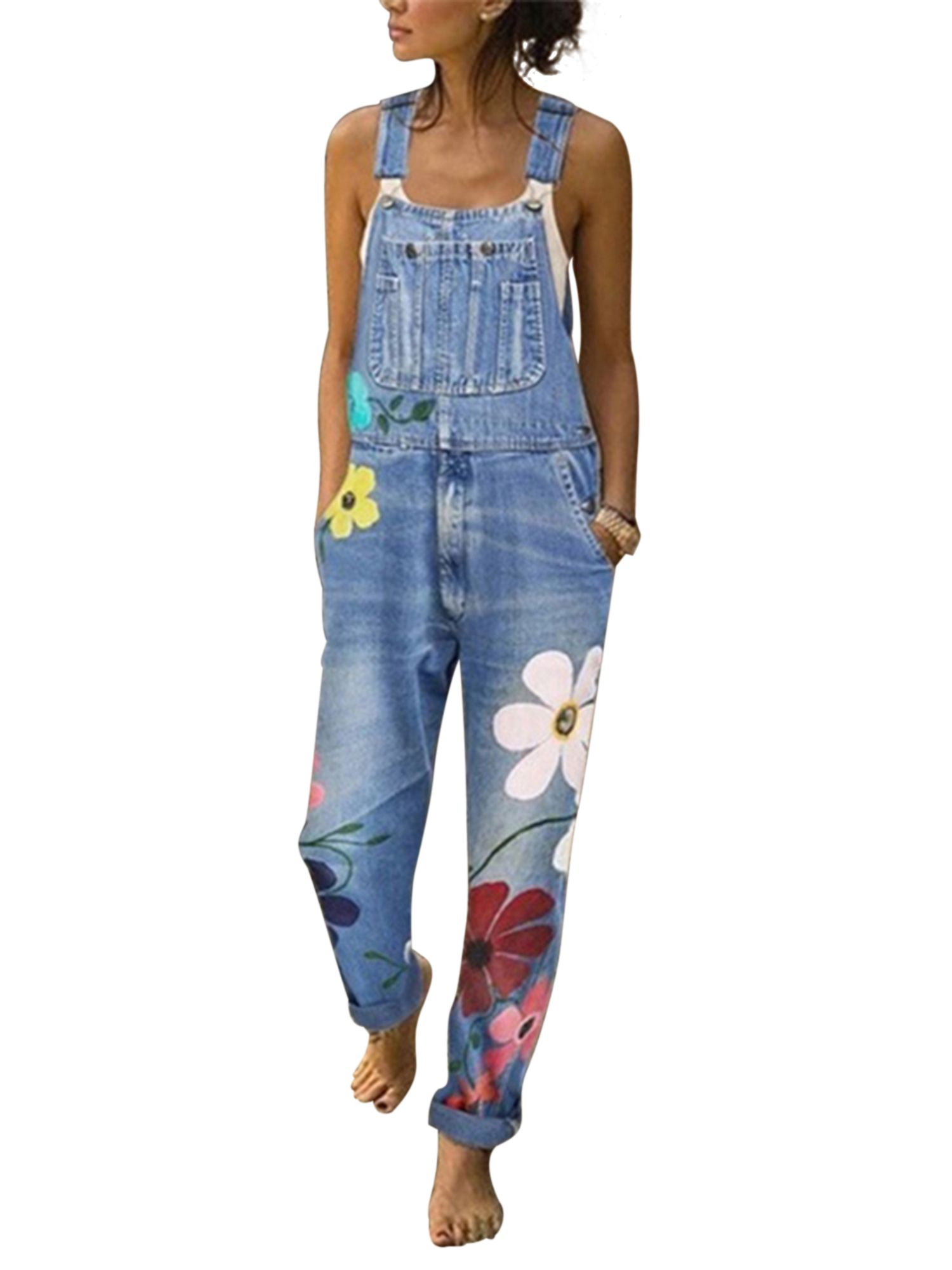 Tomwell Womens Retro Loose Casual Baggy Sleeveless Overall Jumpsuit Playsuit Trousers Pants Dungarees
