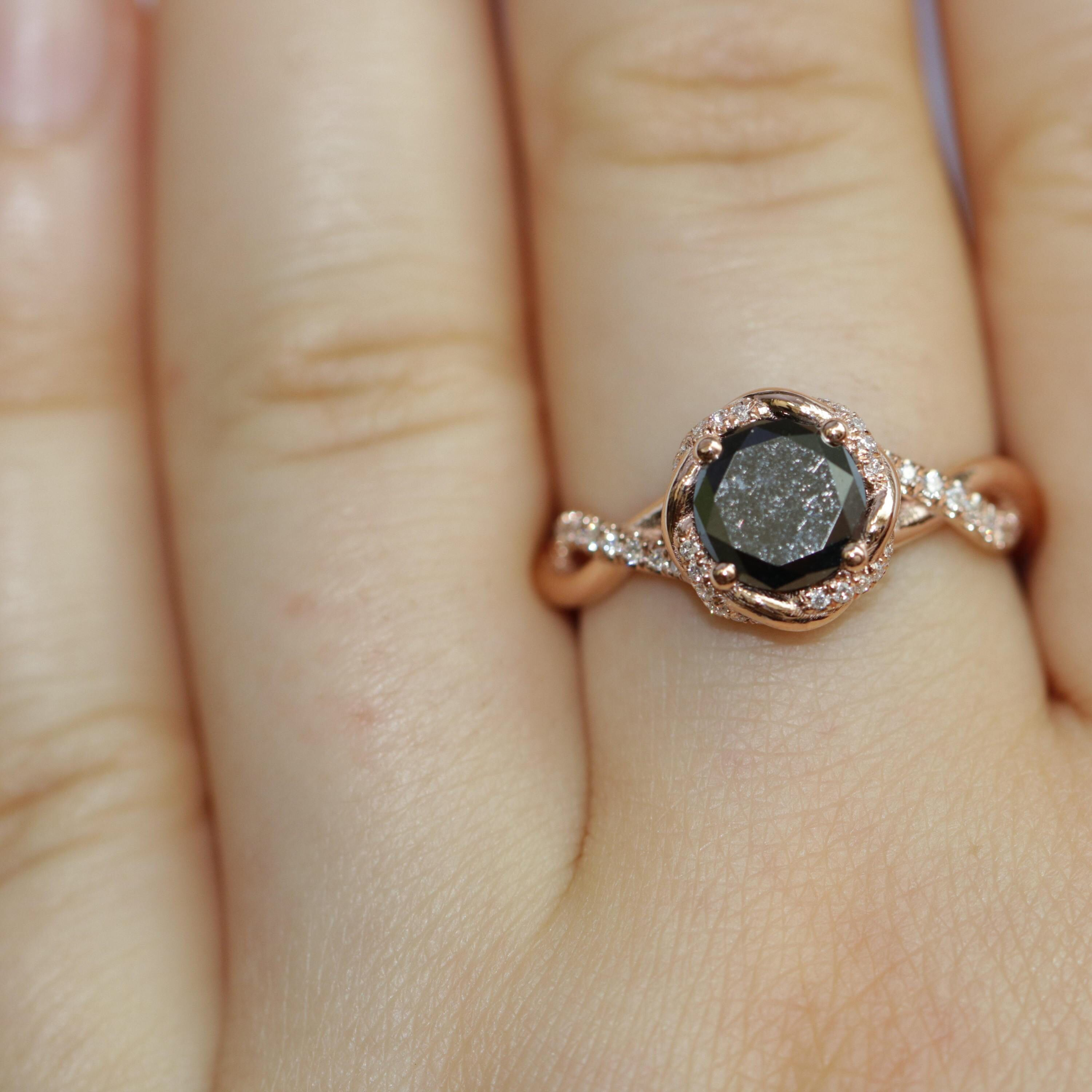 Black diamond engagement ring in rose gold engagement rings