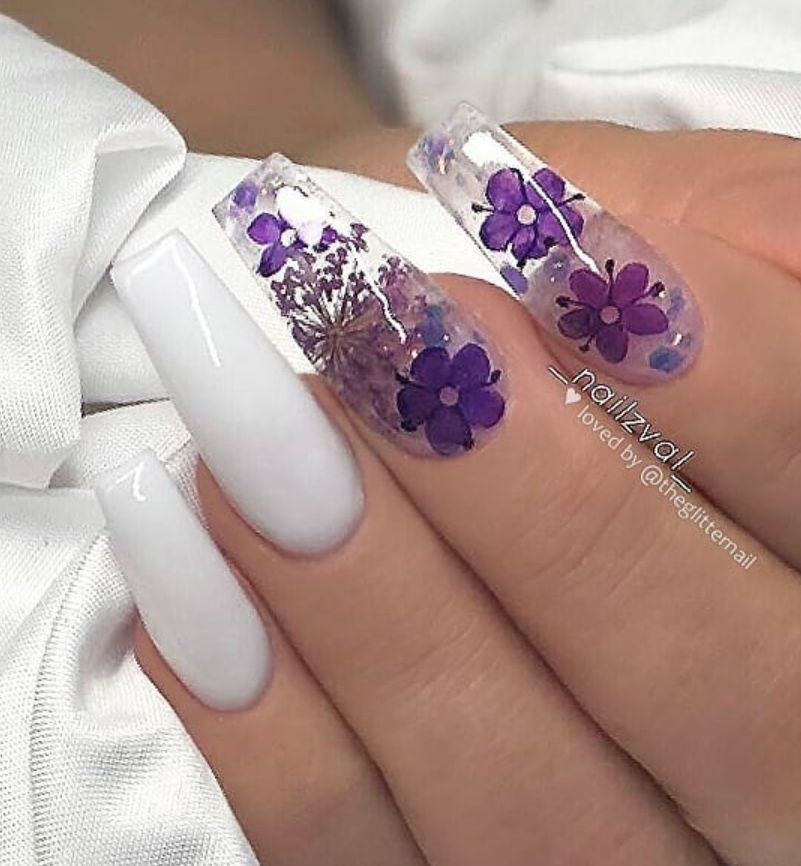 White And Purple Nails Flower Nails Acrylic Nails Spring Nails Purple Nails Purple Acrylic Nails Coffin Nails Designs