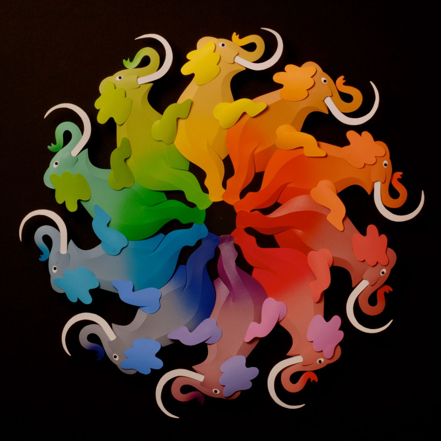 Artwork Leo Monahan Elephant Color Wheel Paper Sculpture Image Courtesy Of The Artist
