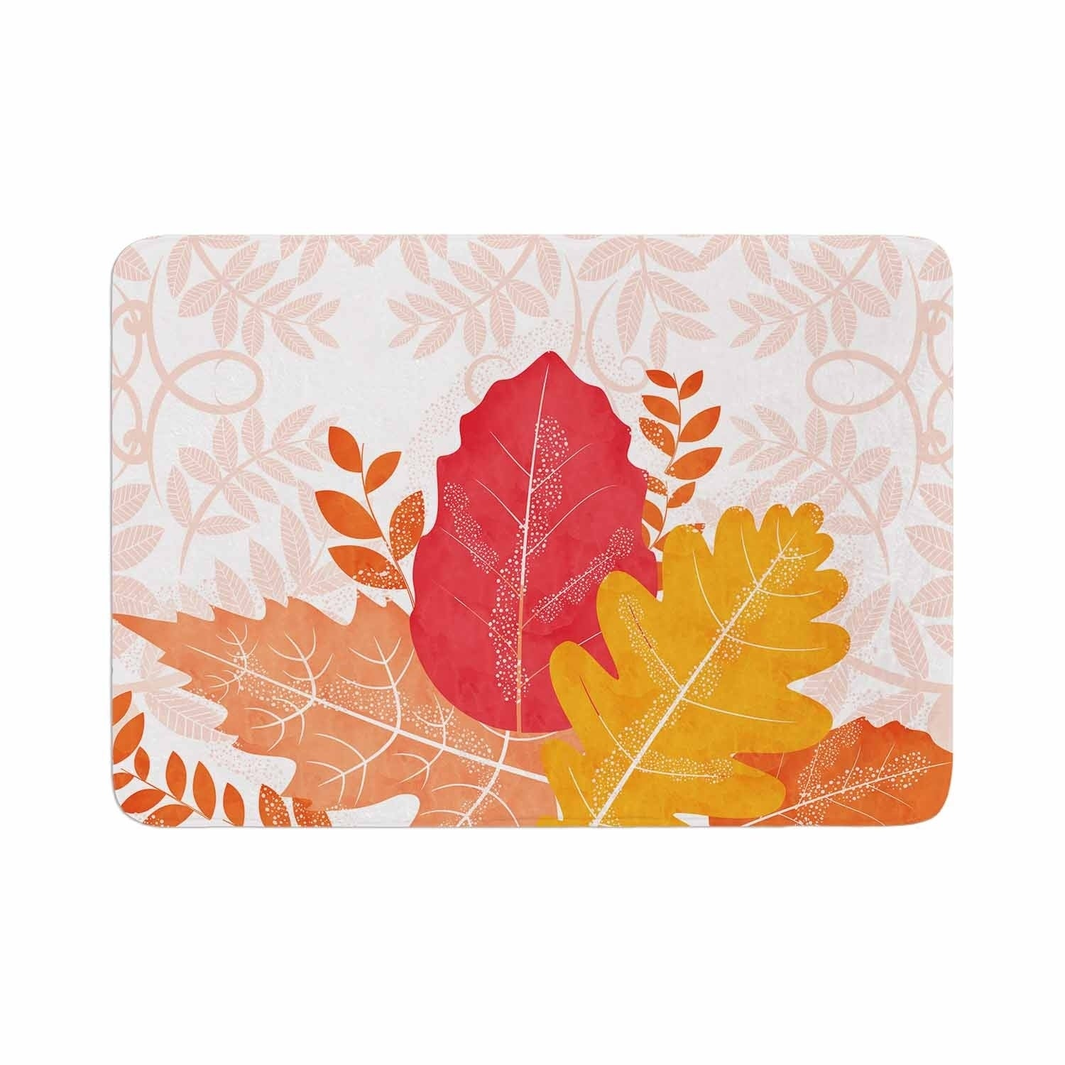 Famenxt Autumn Vibes Memory Foam Bath Mat Orange Kess Inhouse