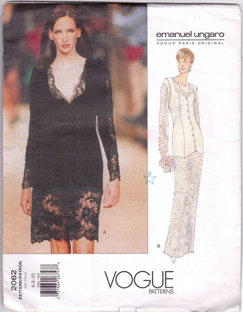 Vogue Paris Sew Pattern Emanuel Ungaro Lace Bridal Evening Dress UC ...