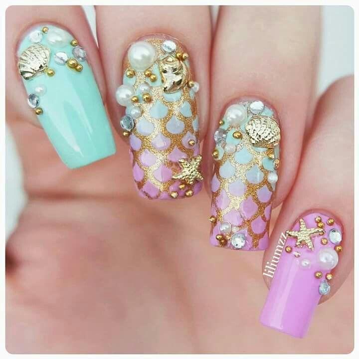 Manucure poudre et résine | uñas | Pinterest | Sirenas, Rosa y Oro