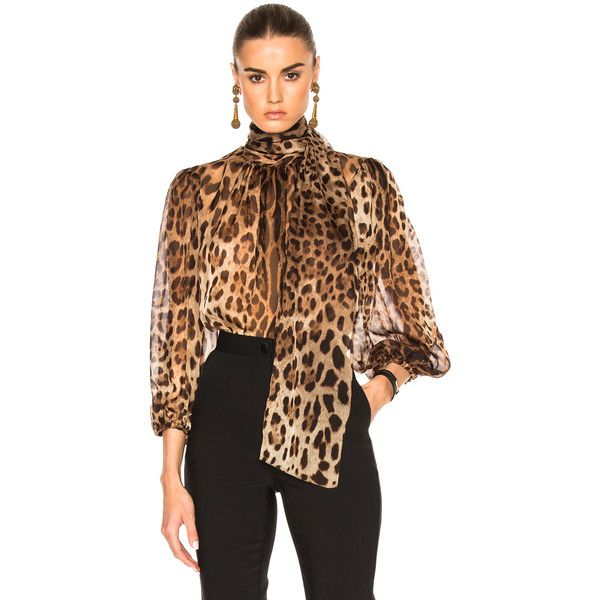 4c3a55639f7c Dolce   Gabbana Chiffon Leopard Print Blouse ( 995) ❤ liked on Polyvore  featuring tops