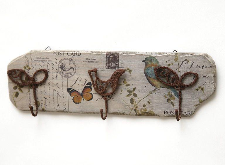 Colgador de pared provenzal estilo provenzal decoupage - Percheros de madera rusticos ...