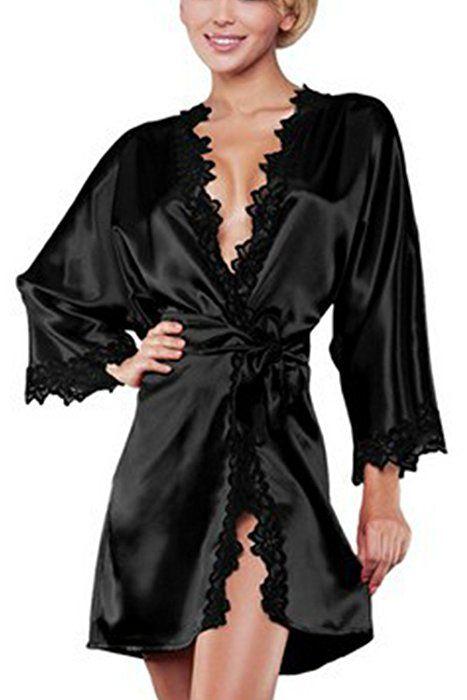 Mujer Manga larga Kimono batas raso novia seda ropa de dormir de la ... 1ec46fffc896