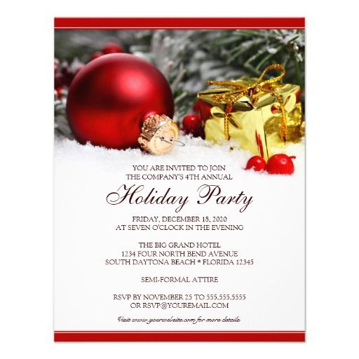 Corporate Holiday Party Invitation Template  Christmas And