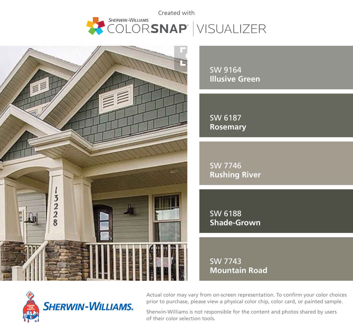 I found these colors with colorsnap visualizer for iphone by sherwin williams illusive green for Sherwin williams exterior paint color visualizer