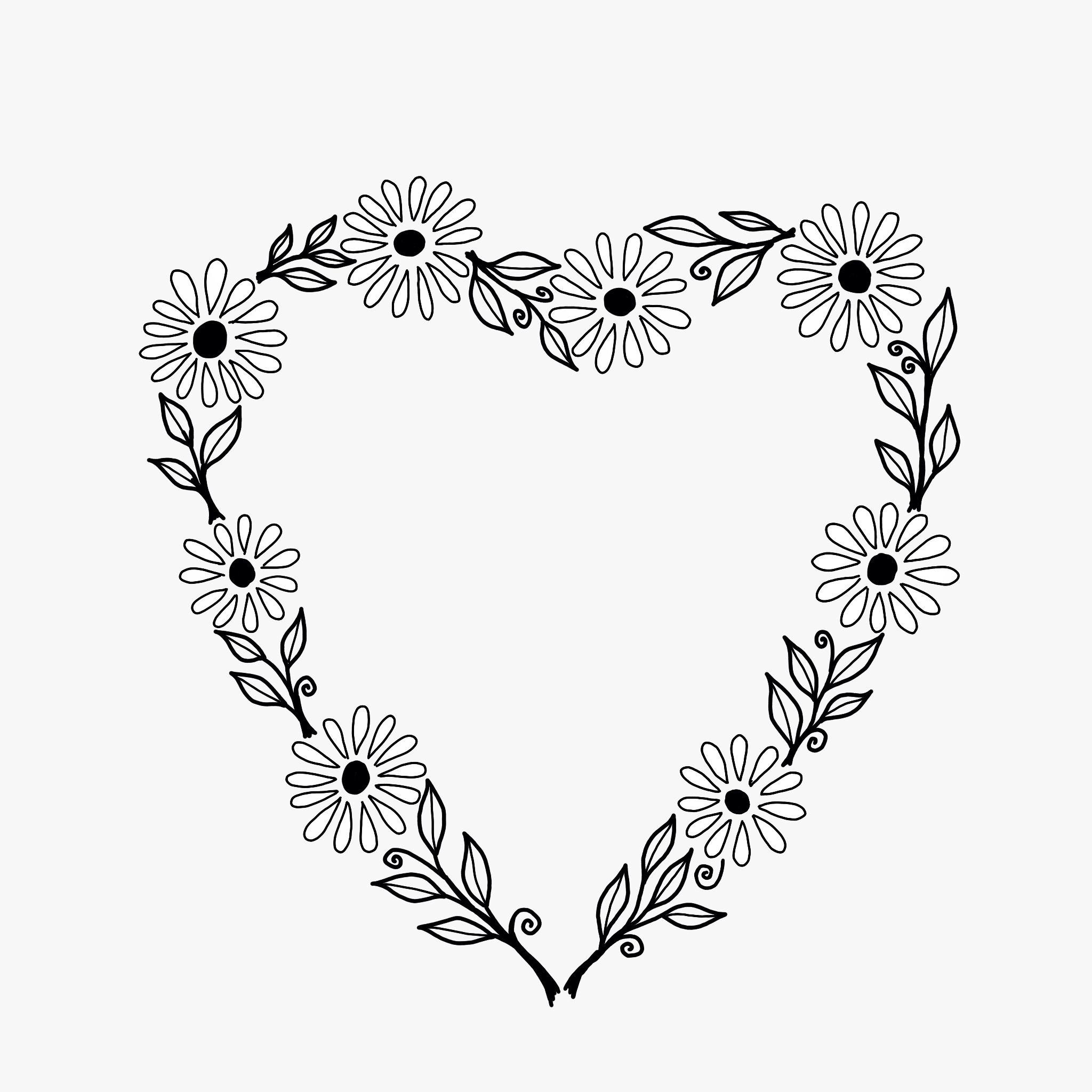 BW Daisy Chain Heart