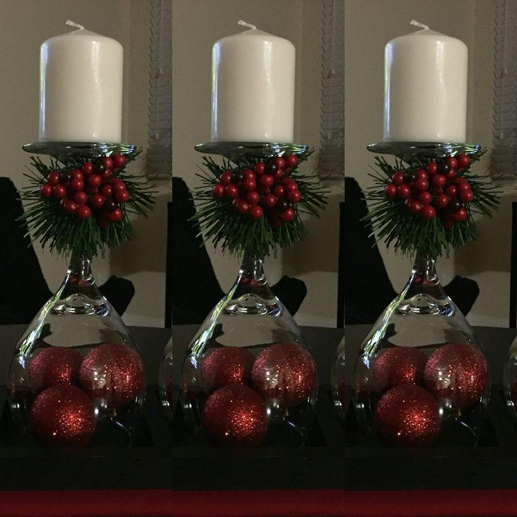 Geschenk Hochzeit - Wine Glass Christmas Centerpiece  #centredetablenoelbois