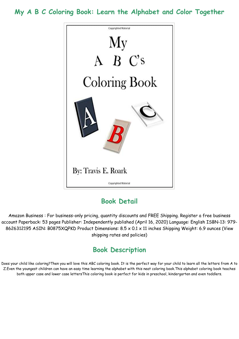 Pdf Book My A B C Coloring Book Learn The Alphabet And Color Together Full Online In 2020 Learning The Alphabet Coloring Books Audio Books