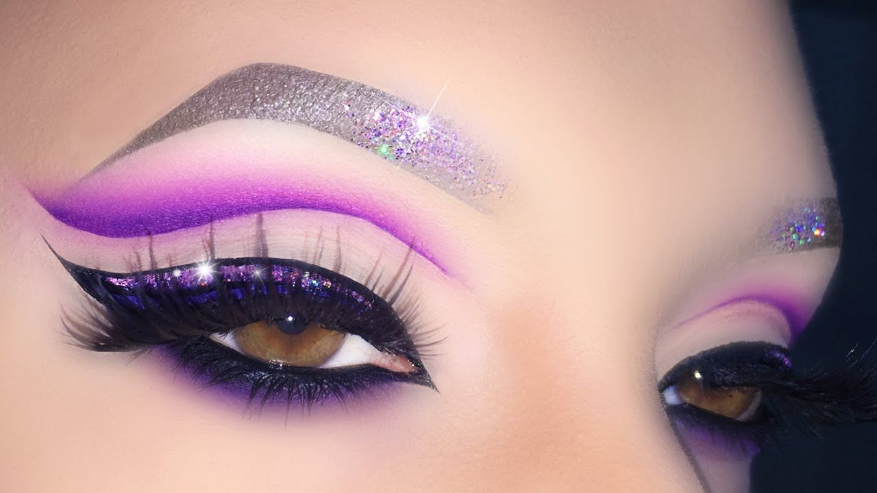 Sexy Purple Cut Crease with Glitter Eyeliner - Makeup Tutorial For Valen... #glittereyeliner