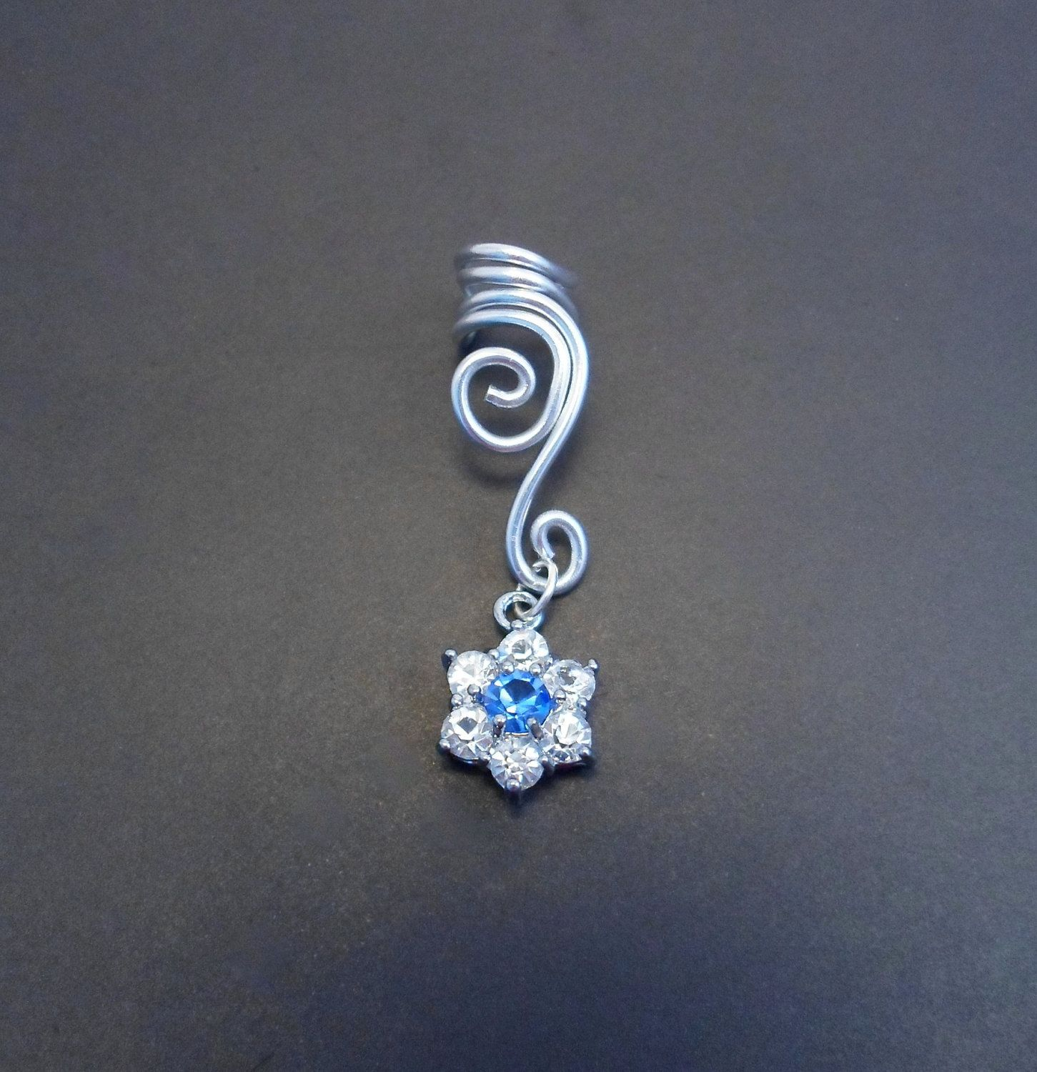 Double Spiral Ear Cuff With Fake Diamonds Flower In Wire