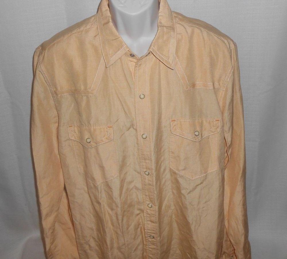 e1632b19 RYAN MICHAEL Western Shirt Men SILK LINEN Size XL Pearl Snap Gold Yellow # RyanMichael #Western