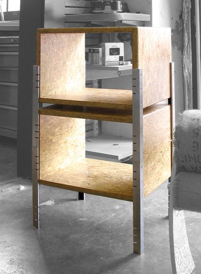 End table or stack-able shelves.  Picture shows 2 of them.  Materials are MDF and aluminum.  Artists are Rick and Tracey Bewley, owners of Art Fusion Studio.
