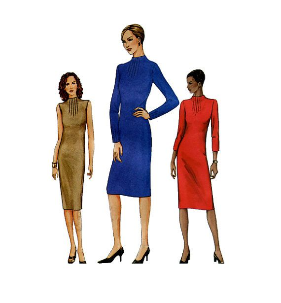 Vogue Dress Pattern Raised Neck With Front Tucks Vogue 7646 Womens