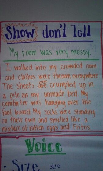 show don t tell writing anchor chart image only language arts  instead of writing a simple sentence such as my room was very messy this picture shows that by describing the messy room rather than simply saying that