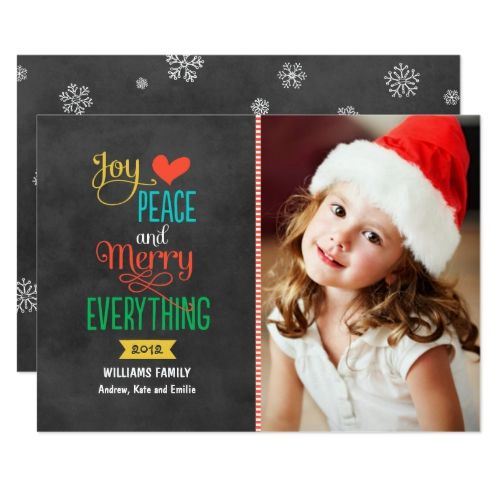 Merry Everything Colorful Black Chalkboard Photo Holiday Card Zazzle Com Cute Christmas Cards Holiday Design Card Holiday Greeting Cards