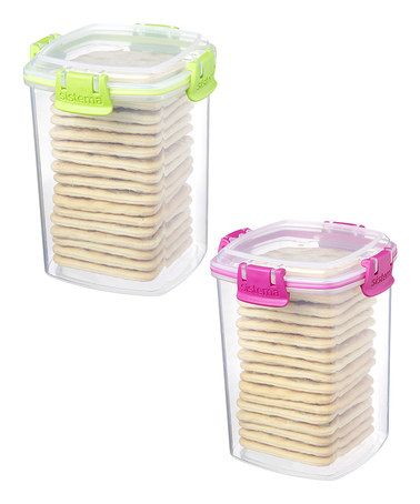 Take a look at this Pink & Green Medium Cracker Container