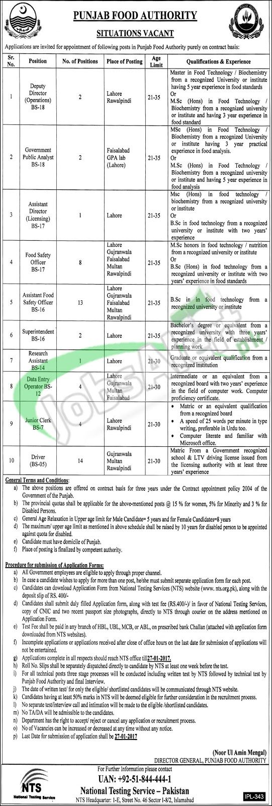 Food Safety Officer Jobs  In Punjab Food Authority Before