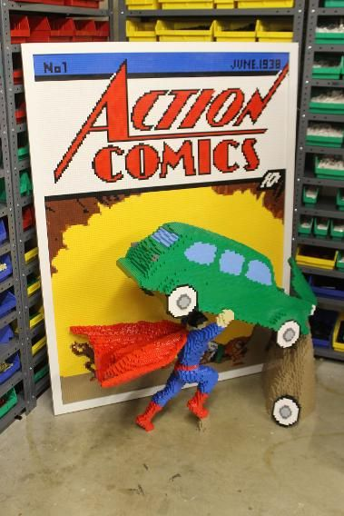 Nathan Saway did the SDCC impossible: a Superman No.1 comic in Lego-form.
